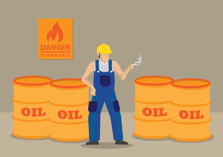 dangerous work: Cartoon worker ignores warning sign and smokes cigarette with barrels of oil around him. cartoon illustration on irresponsible and hazardous acts in workplace concept. Illustration