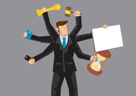 multiple: Cartoon business professional with multiple arms holding different objects. illustration on metaphor for busyness and multitasking isolated on grey background.