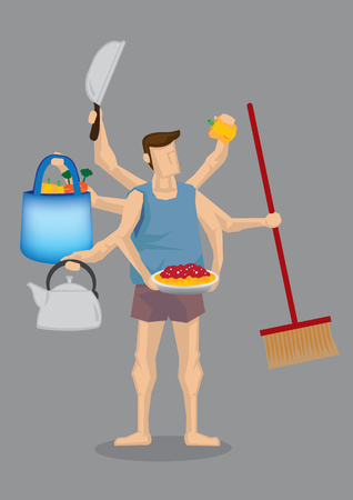 egalitarian: illustration of cartoon man in home clothes with many hands holding different household items isolated on grey background.