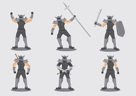 barbaric: Set of six illustrations of medieval warrior game character in metal spiked armor suit with different weapon isolated on grey background.