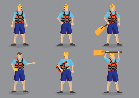 Set of illustration of cartoon character wearing life jacket and water helmet for water sports isolated on grey background. Ilustração