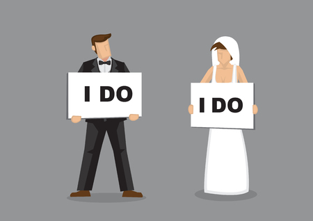 Bride and bridegroom holding placard with text, I Do. cartoon character illustration for wedding and marriage commitment concept.