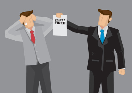 Cartoon businessman hands a termination notice saying You are Fired to his employee. illustration on involuntary layoff concept isolated on grey background. Stock Illustratie