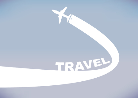 vapor trail: Flying airplane leaving a curve contrail isolated on cloudless evening sky background. illustration with copy space for travel industry.