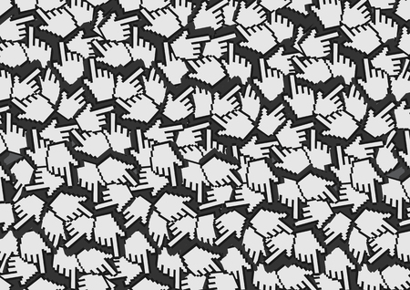 double click: Background design with repetition of pixelated digital hand with index finger illustration, or web icon for click, as pattern.