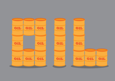 bbl: Crude oil barrels stacking on top of one another to form text OIL. illustration isolated on grey background.