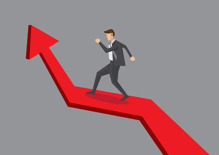 Business professional walking up growing arrow chart. illustration for business growth concept isolated on plain grey background.