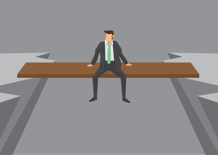 peril: Businessman sitting on a plank laid across two cliffs, with his legs dangling in the air. Creative illustration with copy space for concept on risky business position.