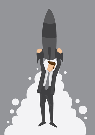 high speed: Business professional holding on to rocket to move up to the top at high speed. Creative illustration on wordplay to illustrate fast track in business or career.