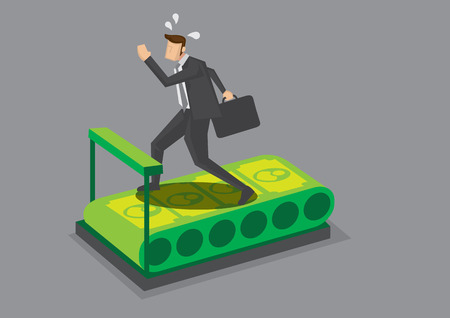 pursuit: Cartoon business executive character running on treadmill will money belt and feeling tired. Creative illustration on endless pursuit for money wealth concept isolated on grey background.