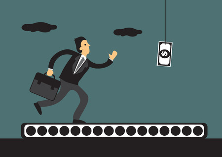 Business professional running on conveyor belt with a dollar note bait dangling in front of him. cartoon illustration on human rat race concept. Ilustrace