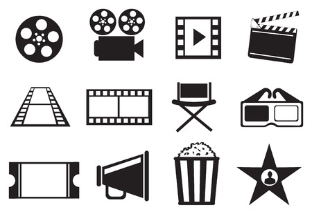 Set of twelve icon illustrations on cinema movie entertainment concept in black and white isolated on white background.