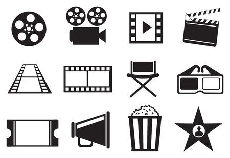Set von zwölf Symbol Illustrationen auf Kinofilm Entertainment-Konzept in schwarz und weiß auf weißem Hintergrund. Vektorgrafik
