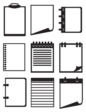 writing materials: Set of nine icon illustration of paper and notebook isolated on white background. Illustration