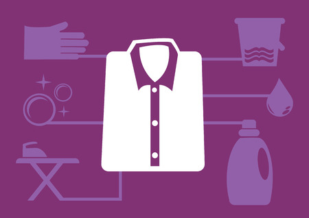 wet shirt: illustration of folded shirt icon in the centre and laundry icons on background. Layout template design for infographics.