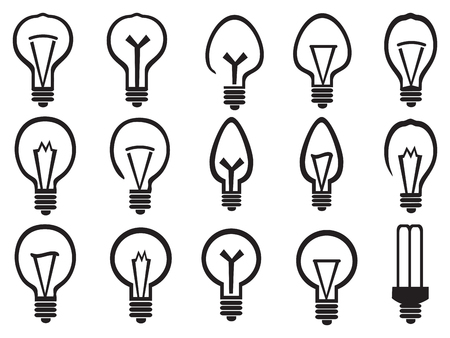bright ideas: Set of black and white minimalist illustrations of light bulbs, symbolism for bright ideas, isolated on white background. Illustration