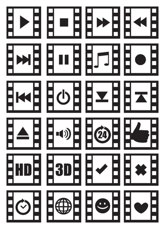 negative film: Set of icon designs of media and audio related symbols with photographic negative film frame isolated on white background.