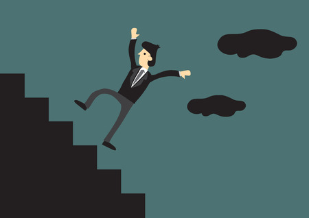 setback: Cartoon businessman falling down the steps of staircase in outdoor setting. Illustration