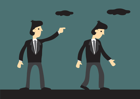 coworker: illustration of businessman pointing with finger giving direction to another businessman.