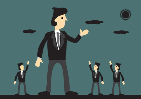 hombre de negocios gigante bien recibido por sus compañeros. El simbolismo de gran corporación exitosa. ilustración de dibujos animados creativa en el concepto de líder de negocios.