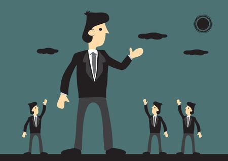 Riesen-Geschäftsmann gut durch Peers. Symbolismus für große erfolgreiches Unternehmen. Kreative Illustration auf Business Leader-Konzept.