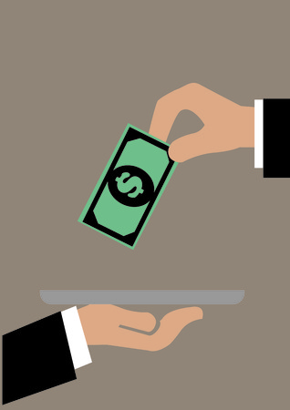 tipping: illustration of a hand putting a dollar note onto a tray. Concept for customer service and tipping.