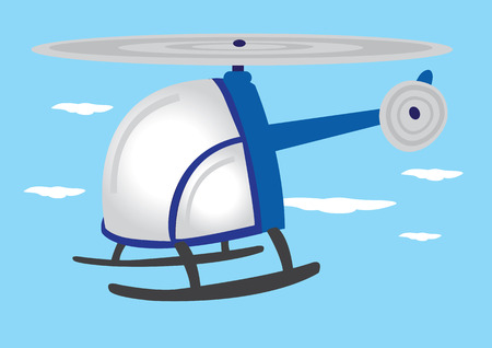 mid air: illustration of blue cartoon helicopter with round wraparound glass flying in mid air.
