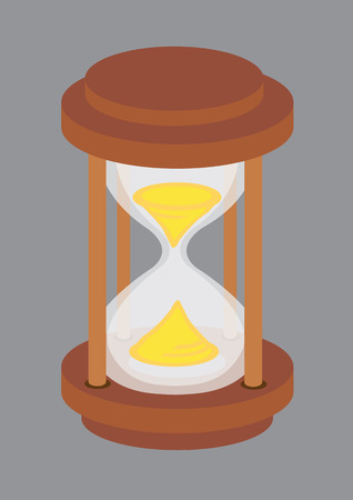 high angle view: illustration of an old-fashioned wooden hourglass with golden sand viewed from high angle isolated on grey background.