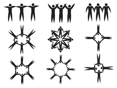 linking: Set of interesting pattern symbol designs from arrangement of stick human figures linking hands. illustration in black and white isolated on white background.
