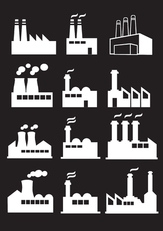 Set of twelve illustration of industrial factories with huge chimneys in white isolated on black background.