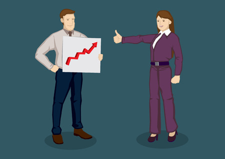 commend: Cartoon businesswoman giving a thumbs up gesture to businessman holding a chart with up arrow. illustration for compliments for good work concept isolated on plain background.