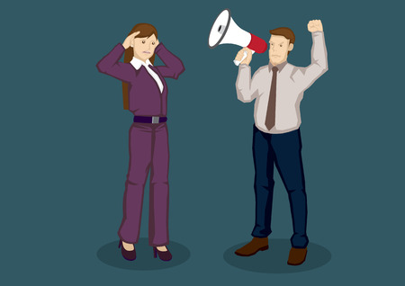 loud hailer: Cartoon businesswoman using hands to cup her ears and businessman using megaphone to speak to her. cartoon illustration isolated on green background.