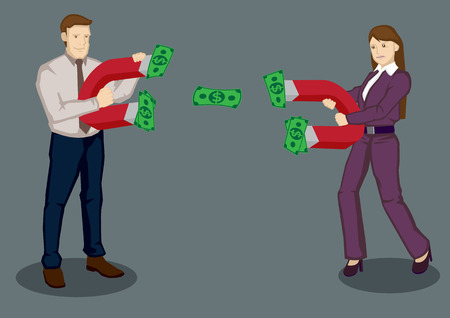 attract: Businessman and businesswoman using magnets to attract dollar notes. Creative illustration on business rivals using strategies to attract business concept isolated on plain background.