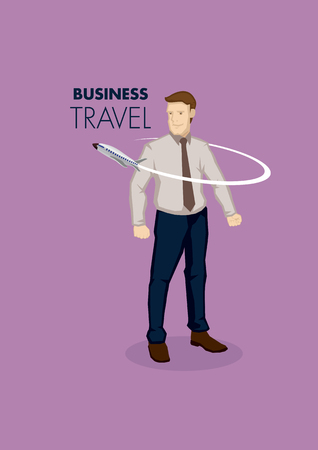 Small airplane flying around a businessman. Cartoon illustration for business travel concept isolated on plain purple background.