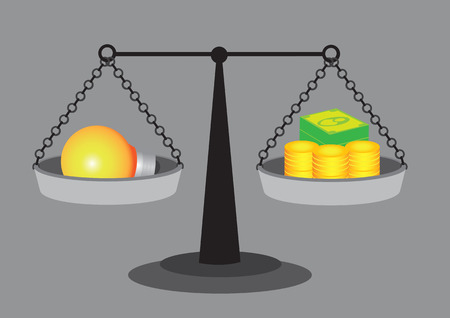 appraise: Balancing a light bulb on one side and money on the other side of a retro weighing scale. illustration on valuation of an idea concept isolated on grey background.