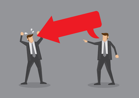 Man with speech balloon in the form of a big red arrow with copy space directed at another man with angry gesture. Conceptual illustration for provocative or rude comments metaphor isolated on grey background.