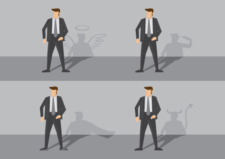 true self: Business executive and his shadow on the wall revealing his true personality. Creative cartoon illustrations on spiritual concept isolated on grey background.