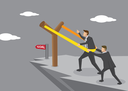 rubber band: Businessmen on dangerous cliff putting themselves on gigantic Y-shaped slingshot catapult, aiming for business goal. Creative concept illustration. Illustration