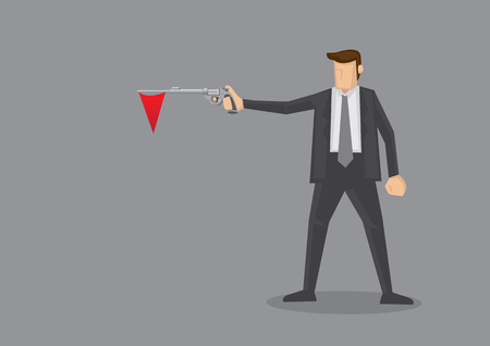 triangular flag: Businessmen in black suit holding a revolver with a red triangular flag hanging out of the gun barrel. Metaphor for red flag warning signal in corporate business. Conceptual illustration isolated on grey background Illustration