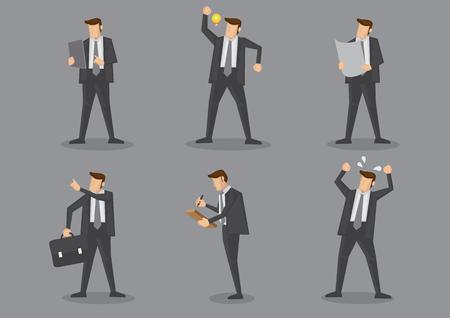 Dyrektory wykonawczy w czarnym kostiumu pozyci w różnych gestach. ilustracja postaci z kreskówek na białym tle na szarym tle.