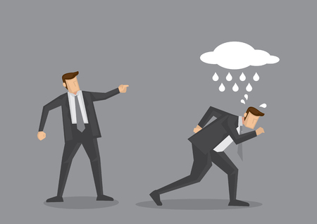 Bad luck business executive with a raining cloud above his head reprimanded by manager to get out. Creative cartoon illustration for concept on office situation isolated on grey background.