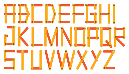 bar tool set: Complete set of font design with angular alphabets formed by sticks joined by screws isolated on white background.