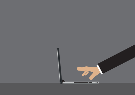 long sleeves: Side view of cartoon hand in long sleeves with extended fingers clicking on laptop computer keyboard isolated on grey background. illustration for business on the go concept.