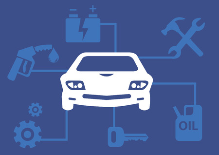 illustration on vehicle maintenance concept with icons of car battery, repair tools, petrol, gears and key linked to a car in the center.