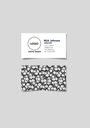 Business Card Design Template In Black And White Minimalist Style