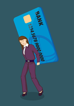 obligations: Sad lady carrying a gigantic credit card on her back. Creative Illustration on credit card debt concept isolated on green plain background. Illustration