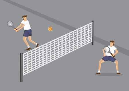 tennis court: cartoon illustration of two male tennis players playing a game using orange tennis ball in grey tennis court with low net across center.