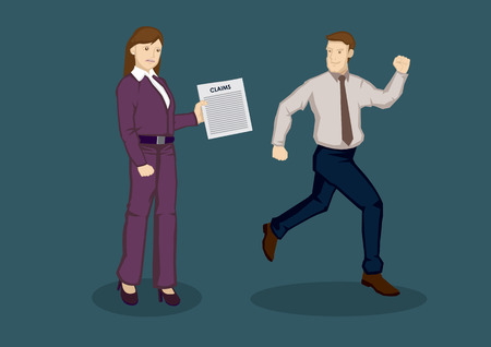 avoiding: Cartoon man running away from woman employee holding a claim form. illustration on avoiding business expenses concept isolated on green background.