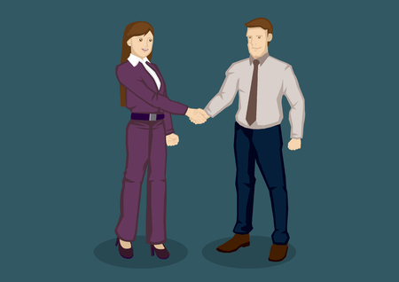 fullbody: illustration of businessman and business lady in professional handshake isolated on green background. Illustration