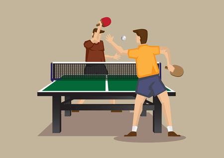 smashing: Cartoon illustration of table tennis players smashing table tennis ball with bats in an exciting game isolated on plain background.